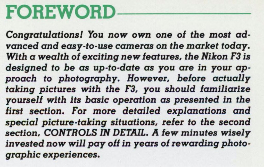 An extract of the Nikon F3 manual
